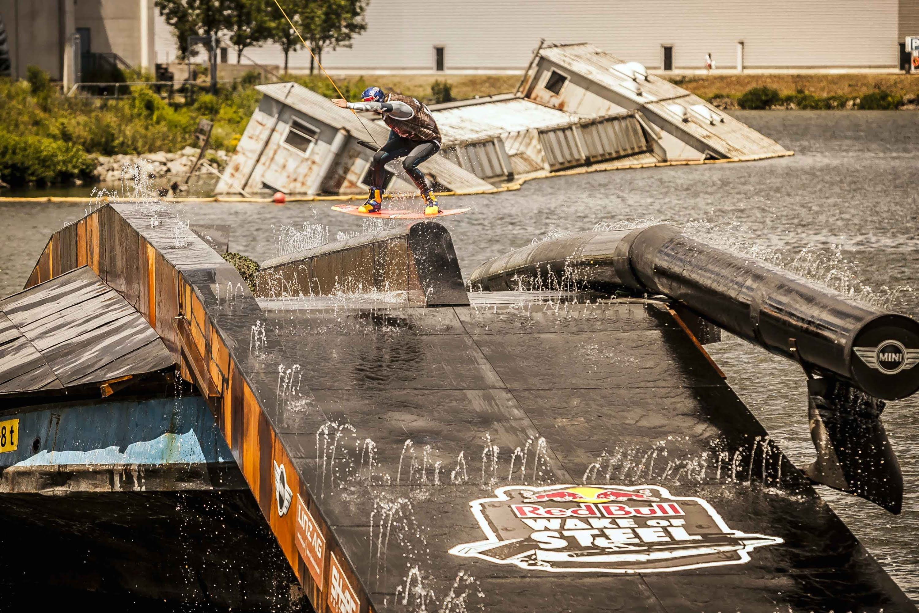 Wakeboard on Old Cargo Ship – Red Bull Wake of Steel 2014
