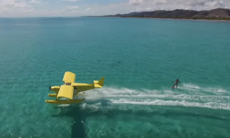 wakeboard toward a plane